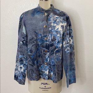 CITRON Blue floral jacquard oriental jacket L